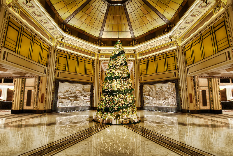 Happy Holidays!  What better way to celebrate than a huge Christmas tree?  Even our Chinese brethren are into it ... I found this tree in the lobby of the Peace Hotel in Shanghai.  I wish everyone safe travels and good company during these holidays.