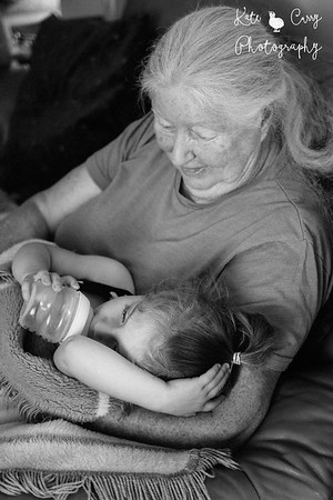 Granddaughter and grandmother, black & white portrait photography