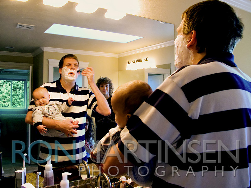 Enjoying my first shave with my son who's ready to shave himself, while Taylor and Sierra look on.