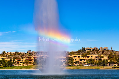 Rainbow in fountain of Fountain Hills Arizona.