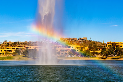 Fountain of Fountain Hills Arizona, us with a rainbow
