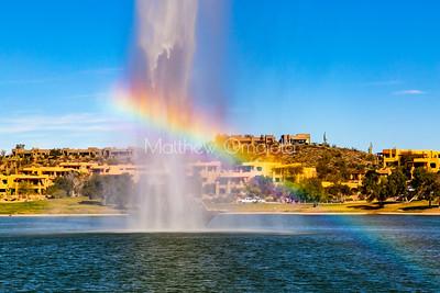 Fountain of Fountain Hills Arizona, us with a rainbow