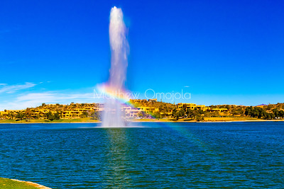 Fountain with rainbow in Fountain Hills Arizona.