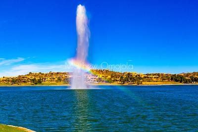 Fountain with rainbow in Fountain Hills Arizona.