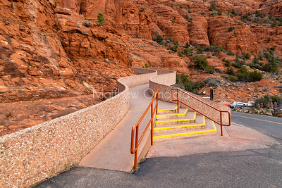 Walkway, steps, wheelchair accessible Chapel of the Holy Cross Sedona Arizona AZ. A Roman Catholic Chapel built into the buttes of Sedona managed by the Archdiocese of Phoenix via St. John Vianney parish Sedona.