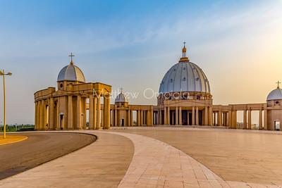 Left (West) side Basilica of Our Lady of Peace Basilique Notre Dame de la Paix Yamoussoukro Ivory Coast Cote d'Ivoire West Africa. The largest church in the world.