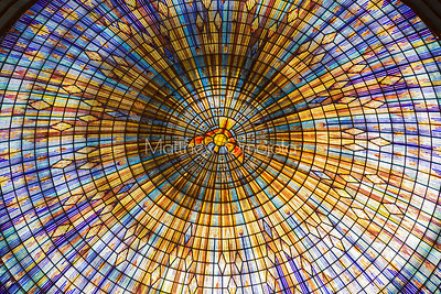 Close up of the inside of the Main dome of the Basilica of Our Lady of Peace Basilique Notre Dame de la Paix Yamoussoukro Ivory Coast Cote d'Ivoire West Africa. The largest church in the world.