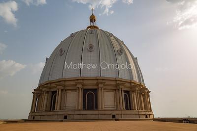 Basilica of Our Lady of Lady of Peace, Basilique Notre Dame de la Paix Yamoussoukro Ivory Coast Cote d'Ivoire. The main dome of the basilica.,
