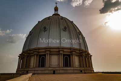 Main dome at sunset of the Basilica of Our Lady of Peace Basilique Notre Dame de la Paix Yamoussoukro Ivory Coast Cote d'Ivoire West Africa. The largest church in the world.