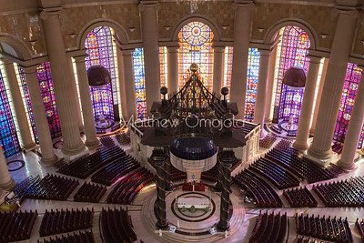 Main altar with canopy  and the two small altars of the Basilica of Our Lady of Peace Basilique Notre Dame de la Paix Yamoussoukro Ivory Coast Cote d'Ivoire West Africa. The largest church in the world.