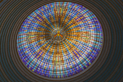 Inside of the Main dome of the Basilica of Our Lady of Peace Basilique Notre Dame de la Paix Yamoussoukro Ivory Coast Cote d'Ivoire West Africa. The largest church in the world.