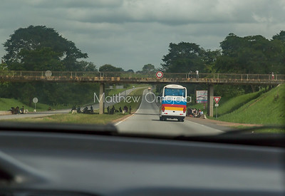 Bus transport from Abidjan to Yamoussoukro, Ivory Coast, Cote d'Ivoire.