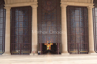 Main entrance of the Basilica of Our Lady of Peace Basilique Notre Dame de la Paix Yamoussoukro Ivory Coast Cote d'Ivoire West Africa. The largest church in the world.
