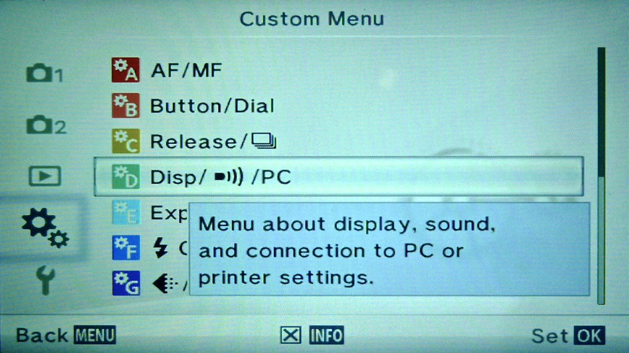 Olympus E-PM2 Custom Menu
