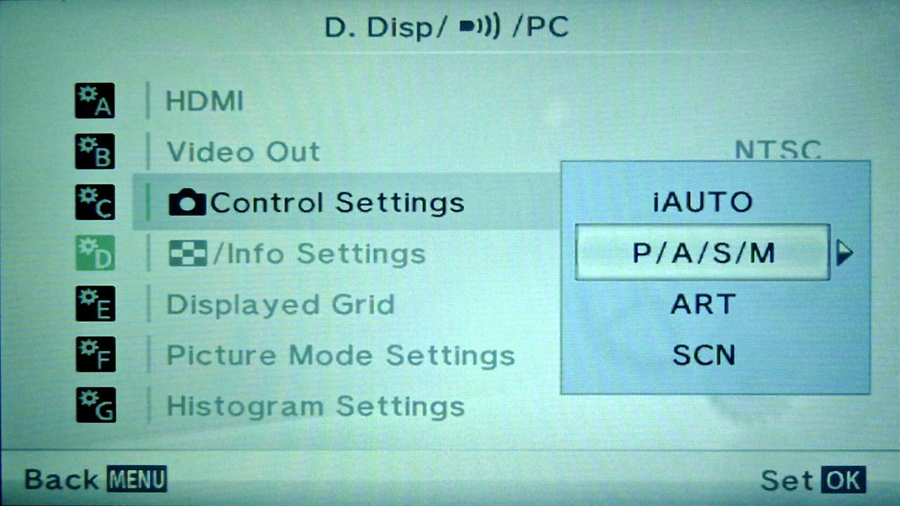 Olympus E-PM2 Setting Control Settings