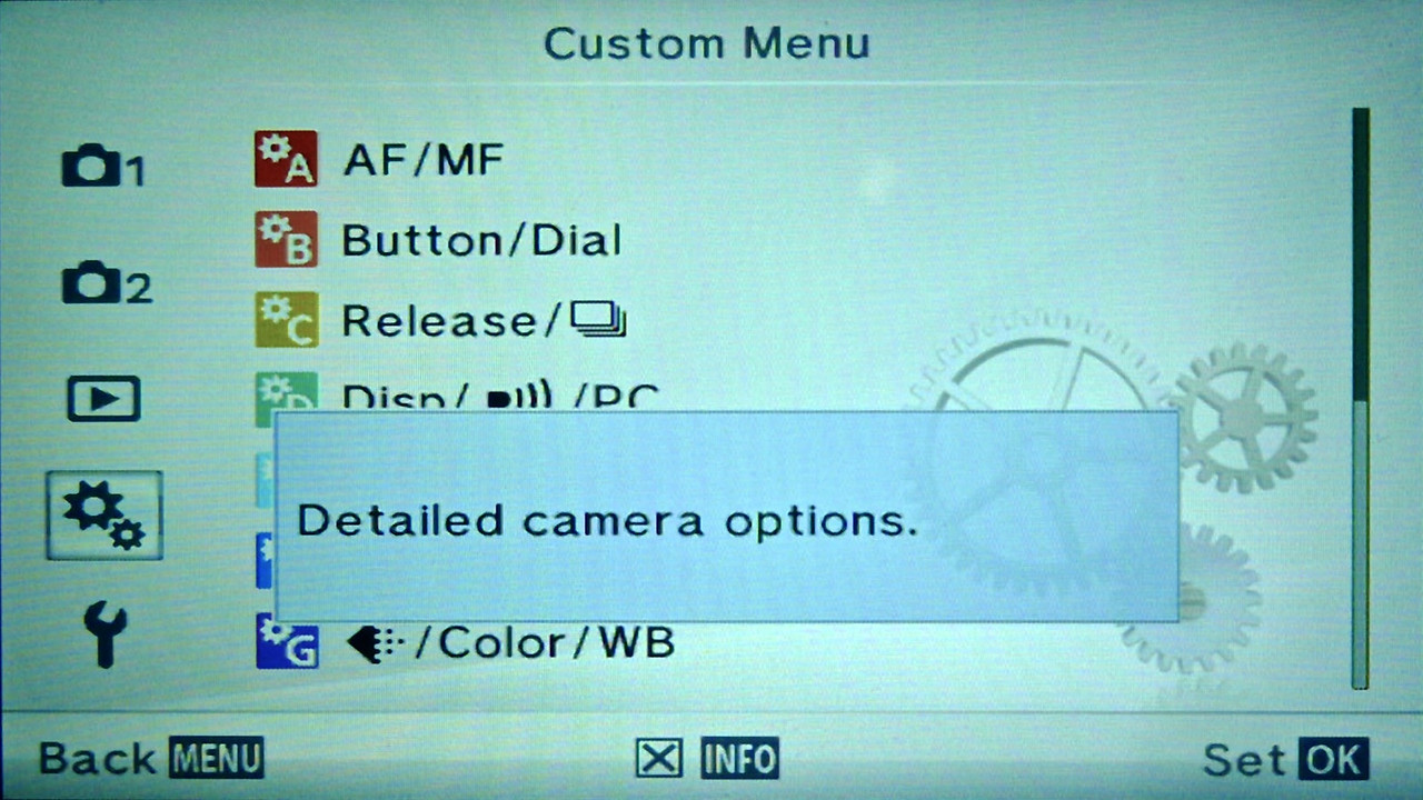 Olympus E-PM2 Custom Menu Display