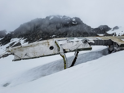 Wing of the wreckage on Bomber Glacier