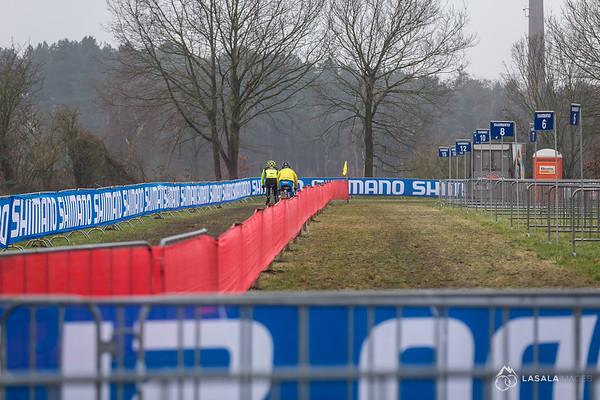 Riders go by pit #1 on the pre-ride at the Hoogerheide Cyclo-cross World Cup on January 23, 2016 in Hoogerheide, The Netherlands. Photo: Matthew Lasala