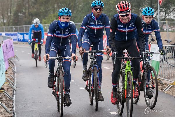 The French Team on the pre-ride at the Hoogerheide Cyclo-cross World Cup on January 23, 2016 in Hoogerheide, The Netherlands. Photo: Matthew Lasala