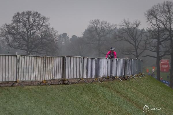 Solitary rider on the dirt berm on the pre-ride at the Hoogerheide Cyclo-cross World Cup on January 23, 2016 in Hoogerheide, The Netherlands. Photo: Matthew Lasala