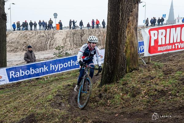 A Luxemberg rider rails the turn on the pre-ride at the Hoogerheide Cyclo-cross World Cup on January 23, 2016 in Hoogerheide, The Netherlands. Photo: Matthew Lasala