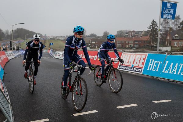 The French team cross the finish line on the pre-ride at the Hoogerheide Cyclo-cross World Cup on January 23, 2016 in Hoogerheide, The Netherlands. Photo: Matthew Lasala
