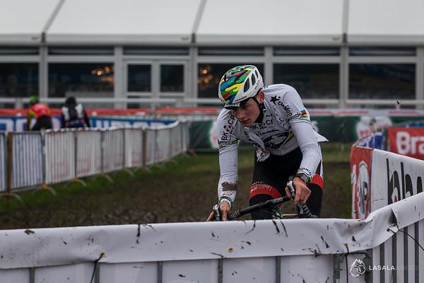 Current UCI Cyclo-cross World Champion Mathieu van der Poel rips through the pre-ride at the Hoogerheide Cyclo-cross World Cup on January 23, 2016 in Hoogerheide, The Netherlands. Photo: Matthew Lasala