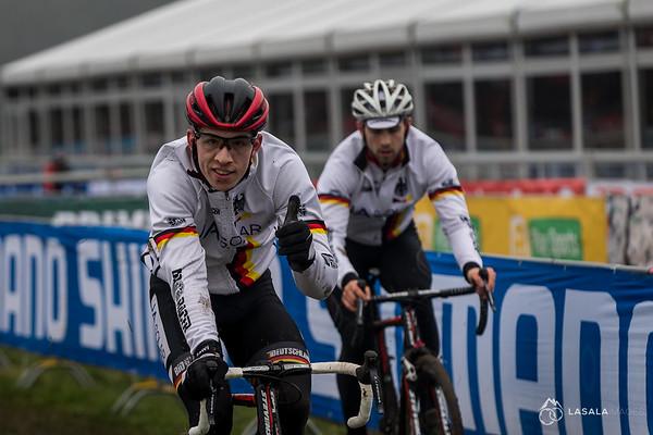 The Germans seemed loose on their pre-ride at the Hoogerheide Cyclo-cross World Cup on January 23, 2016 in Hoogerheide, The Netherlands. Photo: Matthew Lasala