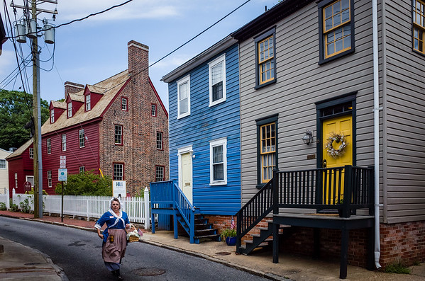 Colorful houses in downtown, Annapolis, Maryland. July 2016.