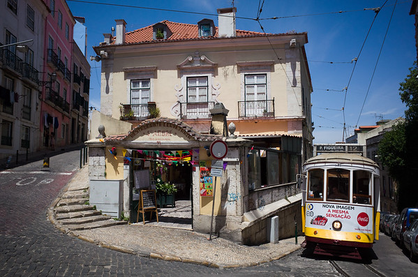 Cable car in the streets of Lisbon, Portugal, June 2017.