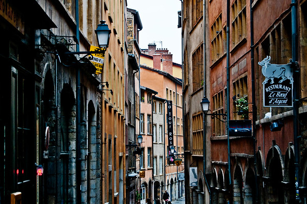 Narrow streets in Lyon, France, September 2011.