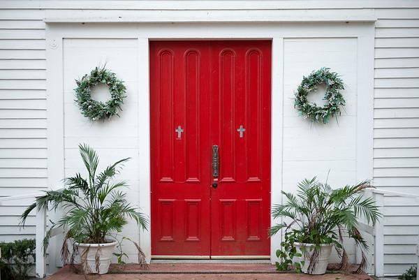 Church door, downtown Micanopy, Florida. January 2017.
