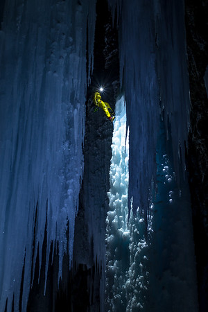 Rappelling the main pillar, shot from behind the curtains of ice.