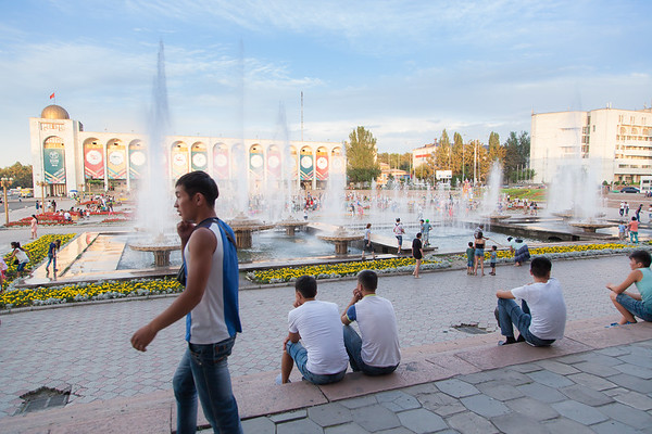 Ala-Too Square is the main square in Bishkek, Kyrgyzstan. The square was built in 1984 to celebrate the 60th anniversary of the Kirghiz Soviet Socialist Republic, at which time a massive statue of Lenin was placed in the square's center. The statue of Lenin was moved in 2003 to a smaller square in the city, and a new statue called Erkindik (Freedom) was installed in its place. Later in 2011 it was replaced by statue of Manas, to celebrate the 20th anniversary of Kyrgyzstan's independence.