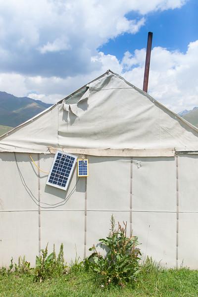 Life at a Kyrgyz settlement. Solar pannel.