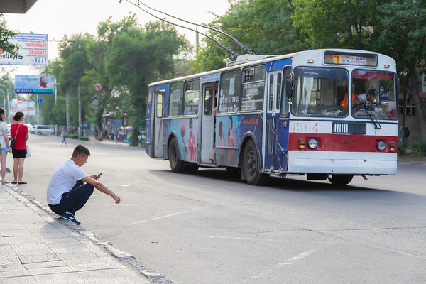 Trolleybus stop at downtown Bishkek. Squatting is extremely popular and you see people squatting every where. While waiting on the street, but I also saw people squatting while working (depending on the job, obviously). Apparently it has its origin from the nomad times: For centuries Kyrgyz were living in tents (called yurts, pictures coming soon) and so they basically didn't have any furniture, including no chairs. Nowadays it's more of a sign indicating rural or low class origin.