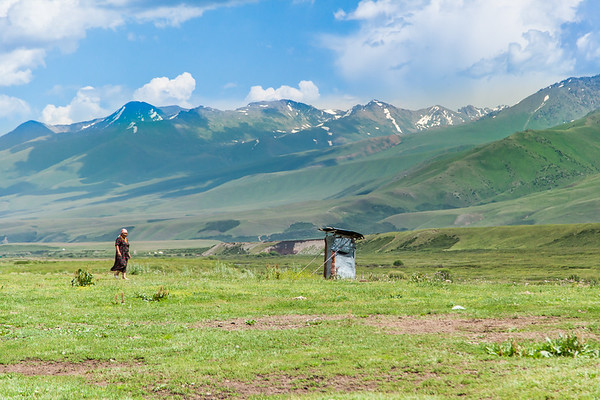 Life at a Kyrgyz settlement. Typical Kyrgyz toilet. Keep in mind this is used when 35ºC in summer and when -20ºC in winter…. it's tough. My least favorite thing of Kyrgyzstan.