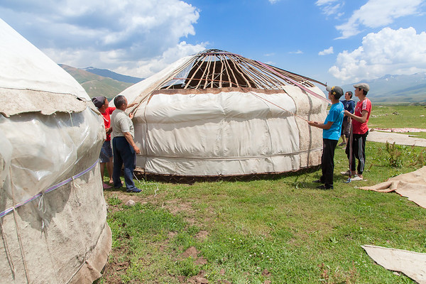 During the summer shepherds/farmers build yurts near the road or in the mountains. The road is all year long full of travelers, which presents a chance to make some money, by selling basic goods: food, milk, or other local products like carpets, blankets, etc.