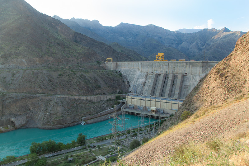 Toktogul hydroelectric stations - hydropower plant on the Naryn River in Kyrgyzstan. The dam forms the Toktogul Reservoir, the largest reservoir in Central Asia. Included in the Naryn-Syrdarya cascade of hydropower plants. Build on 1962.