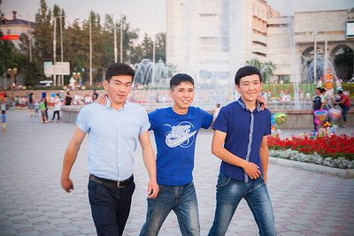 """We are from Kochkor village. This is our first time in Bishkek. We came from Kochkor to pass the exams to get into University"". Boys at Ala-Too, main square in Bishkek, capital city of Kyrgyzstan."
