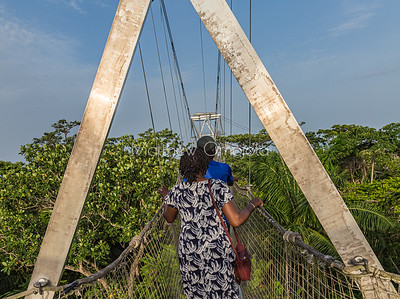 Visitors, tourists on the canopy walkway Lekki conservation center, Lekki Lagos Nigeria