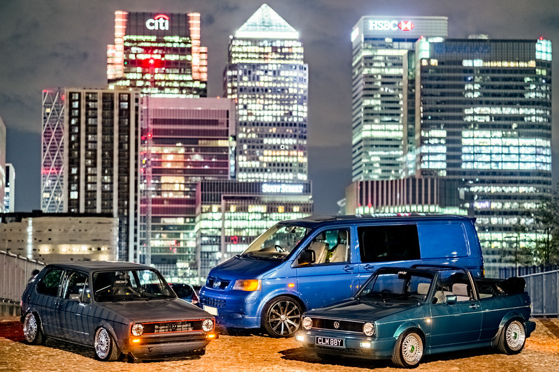 2 Golfs and a T5 in London
