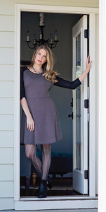 patterned skater dress with lace sleeves $39.00