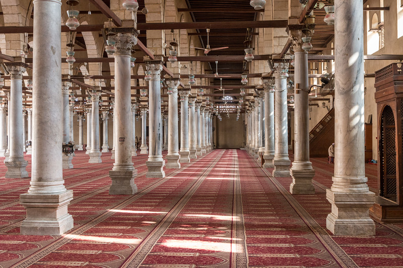 The interior of Mosque of Amr, Cairo