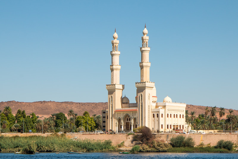 Mosque on the bank of the Nile in Aswan, Egypt