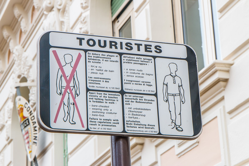 Rules for tourists, Monaco