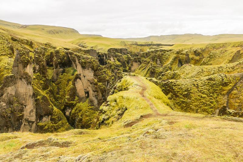 The landscape of Fjaðrárgljúfur canyon