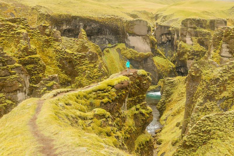 Cristina enjoying Fjaðrárgljúfur canyon