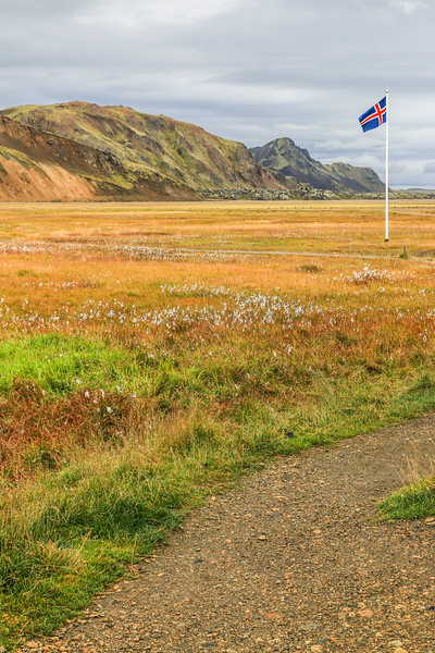 Iceland flag at Landmannalaugar