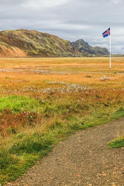 Iceland flag at Landmannalaugar